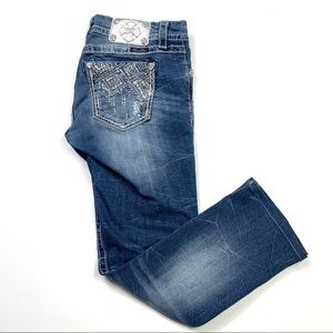 Miss Me Mid Rise Easy Straight Embellished Jeans